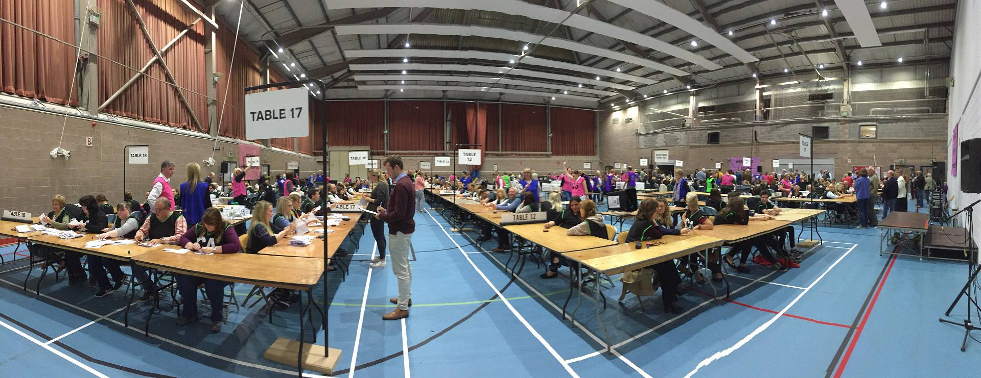 Hereford Leisure Centre during election night count