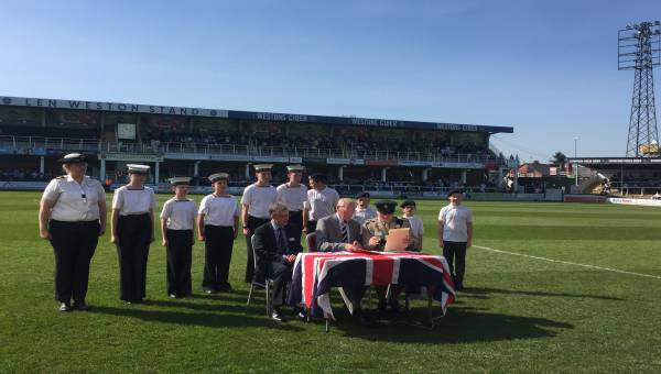 Photo of Hereford FC signing the Armed Forces Covenant