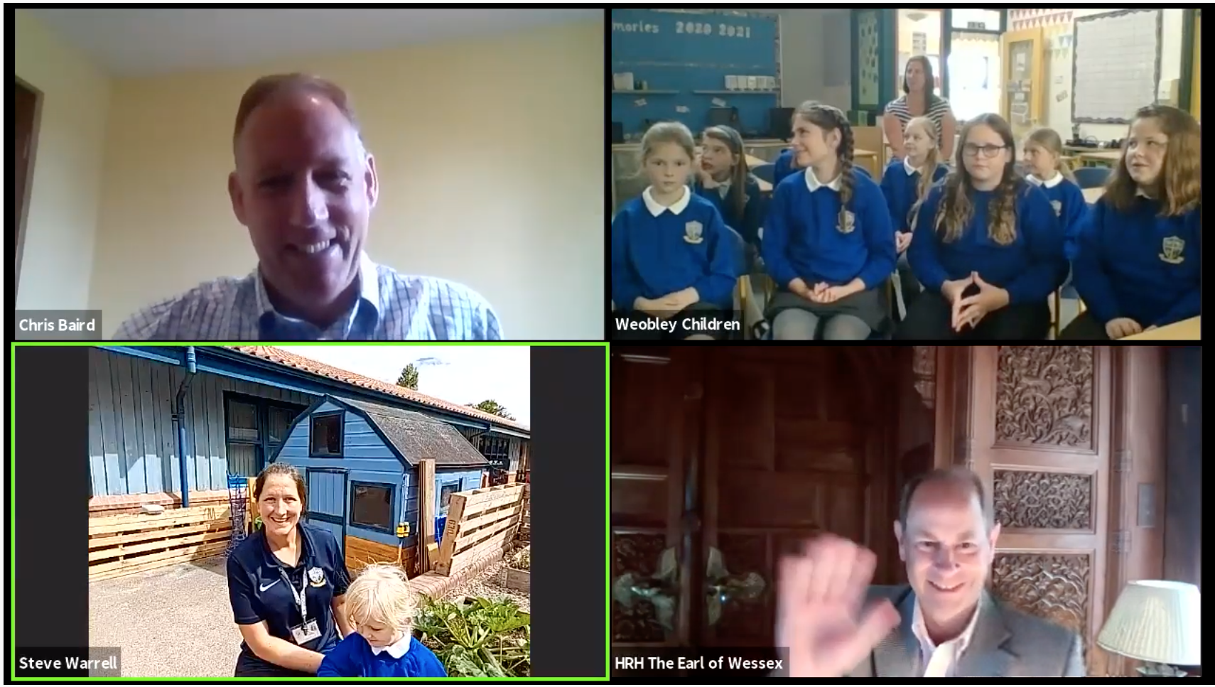 A screenshot of HRH Earl of Wessex on zoom with images of Chris Baird, from Herefordshire Council and Children from Weobly Primary school