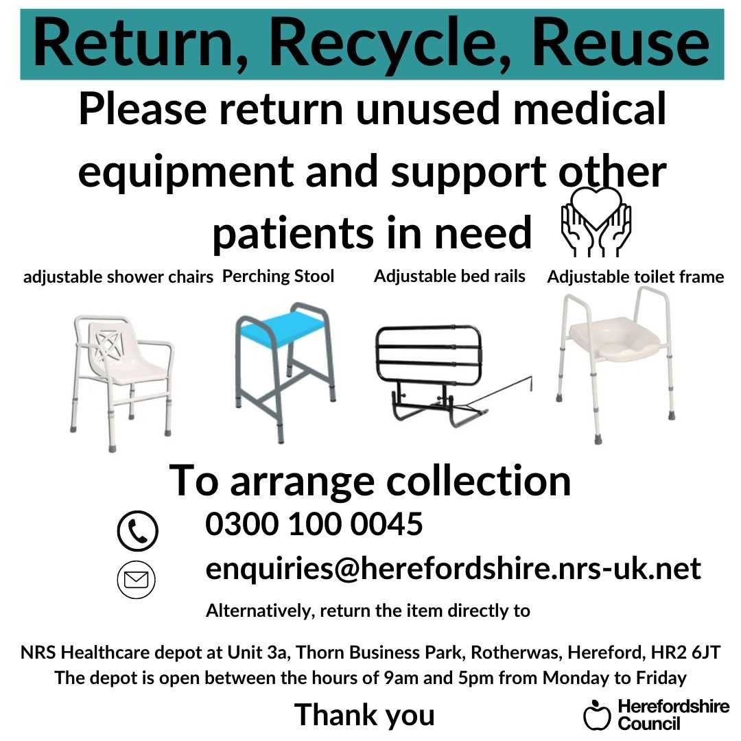 Images of Adjustable shower chair, perching stool, adjustable bed rails and adjustable toilet frame with graphic text - Return, Recycle, Reuse - Please return unused medical equipment and support other patients in need call 0300 100 0045 or alternatively, return the item directly to NRS Healthcare depot at Unit 3a, Thorn Business Park, Rotherwas, Hereford, HR2 6JT The depot is open between the hours of 9am and 5pm from Monday to Friday