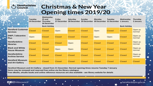 Table showing council building opening times for Christmas 2019