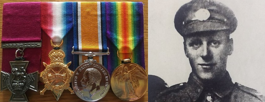 Photo of Lance Corporal Allan Lewis Leonard VC and his medal set