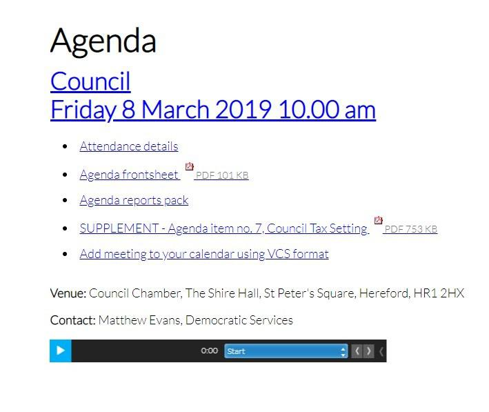 Agenda 8 march audio minutes