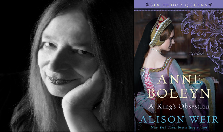 Alison weir and the cover of her new book on Anne Boleyn