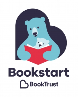 Bookstart logo showing big and little bear reading together