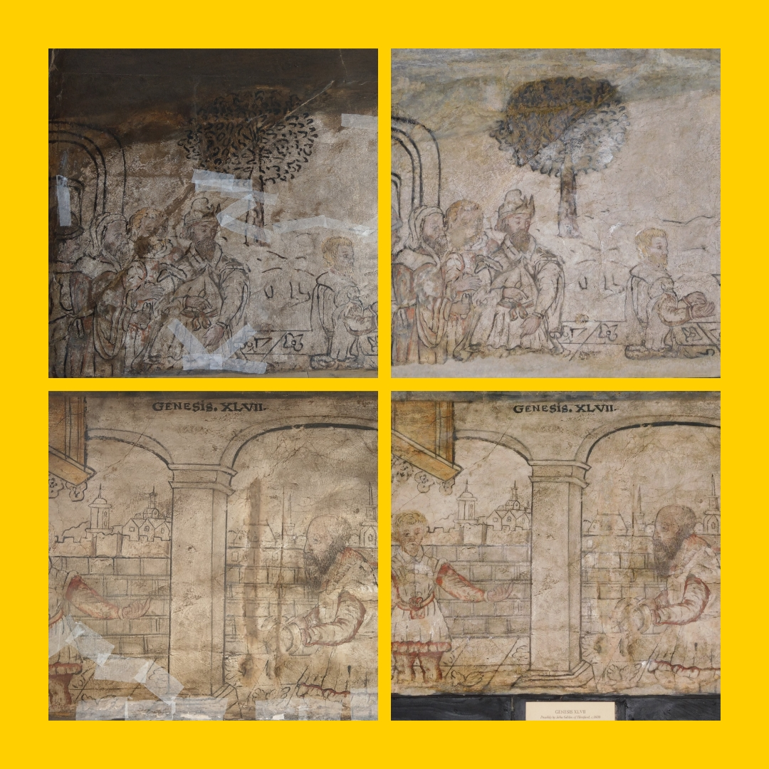 Collage of B&W House wall paintings before and after restoration