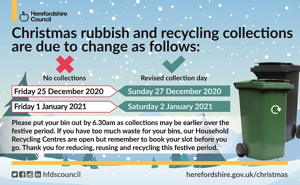 Rubbish and recycling collection day changes for Christmas 2020