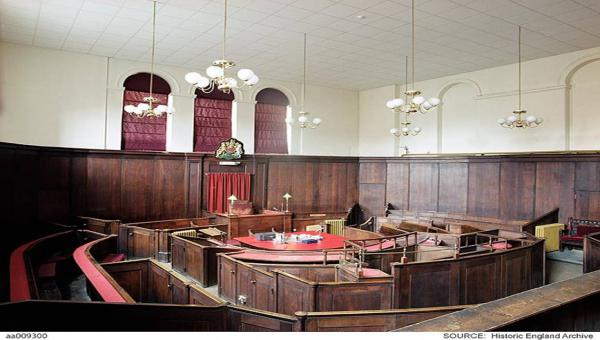 Picture of the interior of Court 1 in Hereford Shirehall