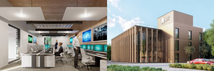 Collage of architects' interior and exterior images of Cyber Centre at Skylon Park