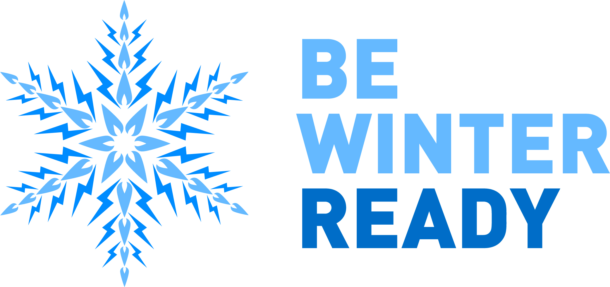 Blue star snowflake with text 'be winter ready'