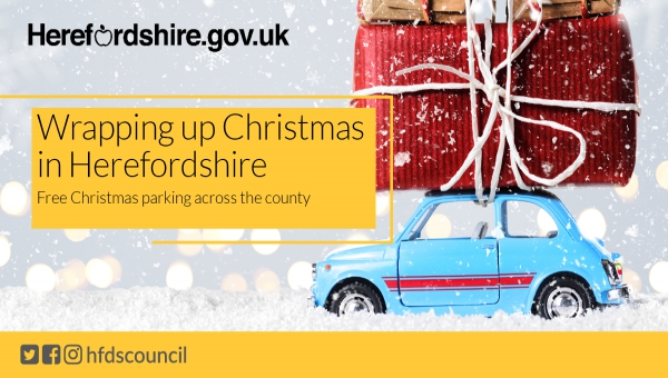 Image promoting free Christmas parking in Hereford