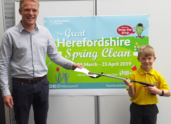 Zeb Swan, winner of most unusual piece of litter, Great Herefordshire Spring Clean 2019
