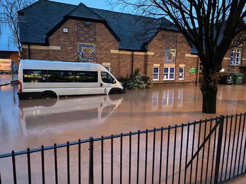 Holmer Primary School Hereford in floods Feb 2020