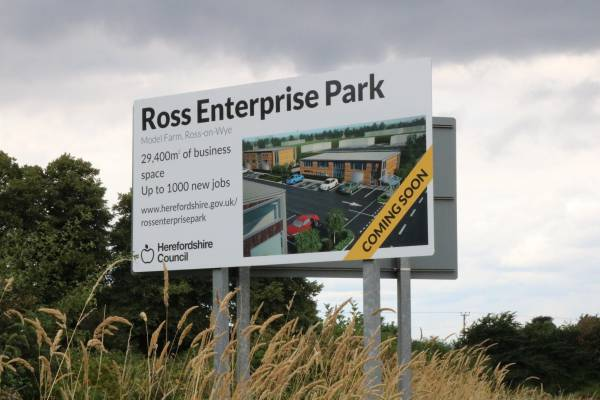 Photo of roadside sign for Ross Enterprise Park