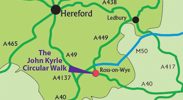 John Kyrle ,circular walk, location map