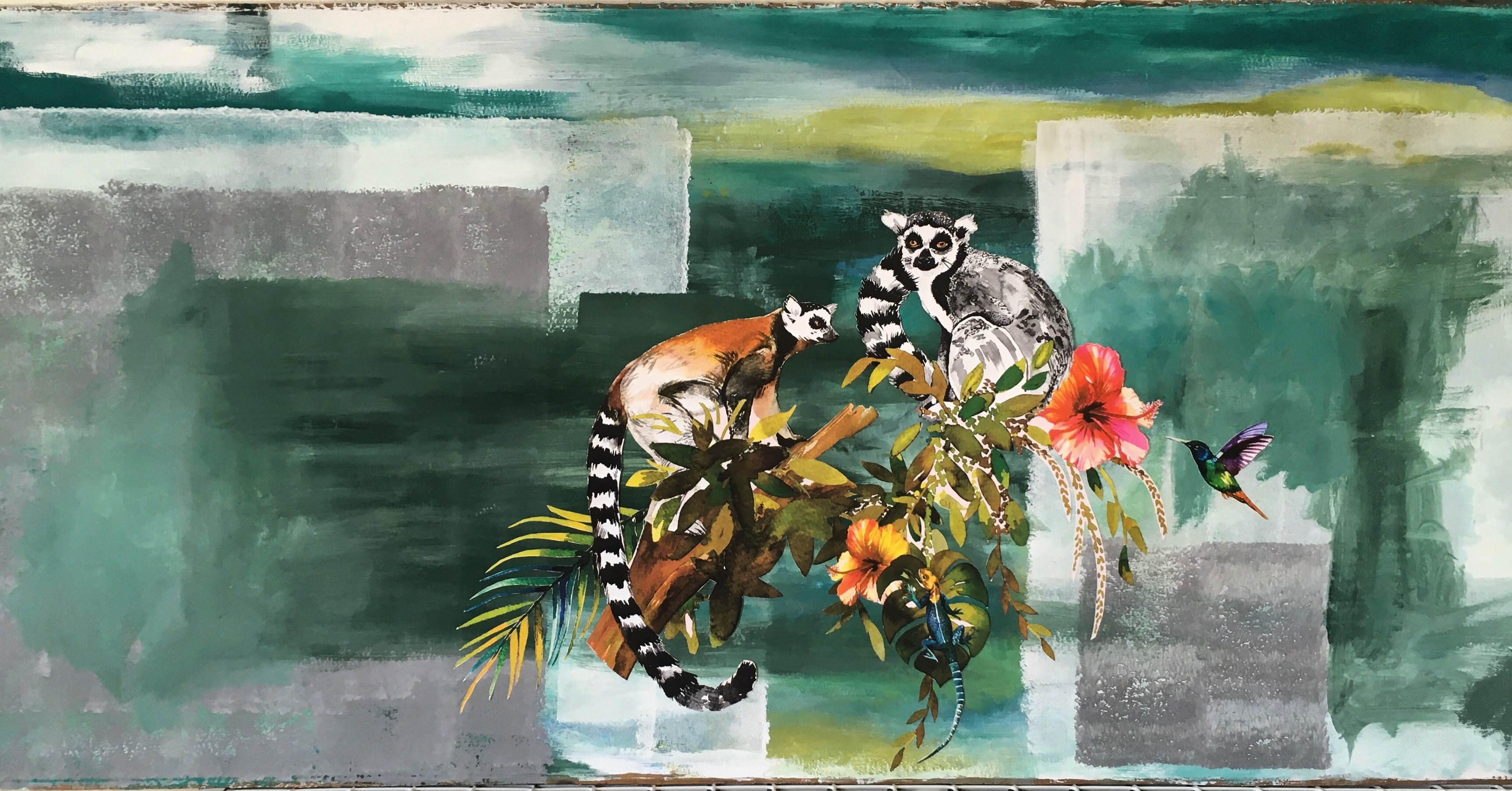 Artwork shows lemurs and a hummingbird against an abstract background.