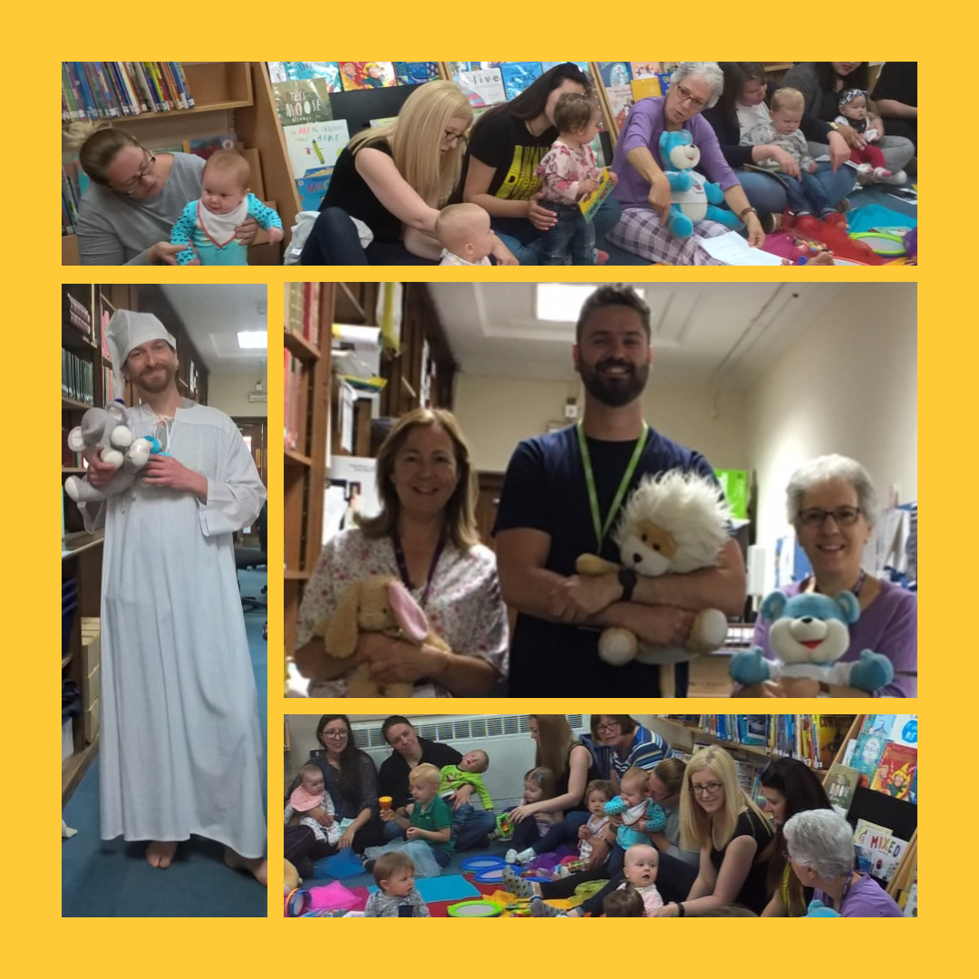 Families and children sit in a circle enjoying a Story and Rhyme pyjama party at Hereford Library