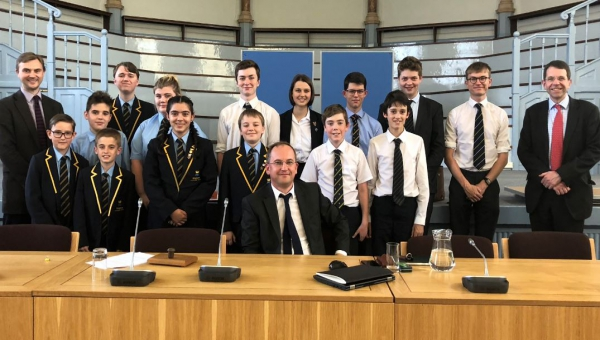 Kingstone High School pupils, Hereford Cathedral School and Councillor Jonathan Lester