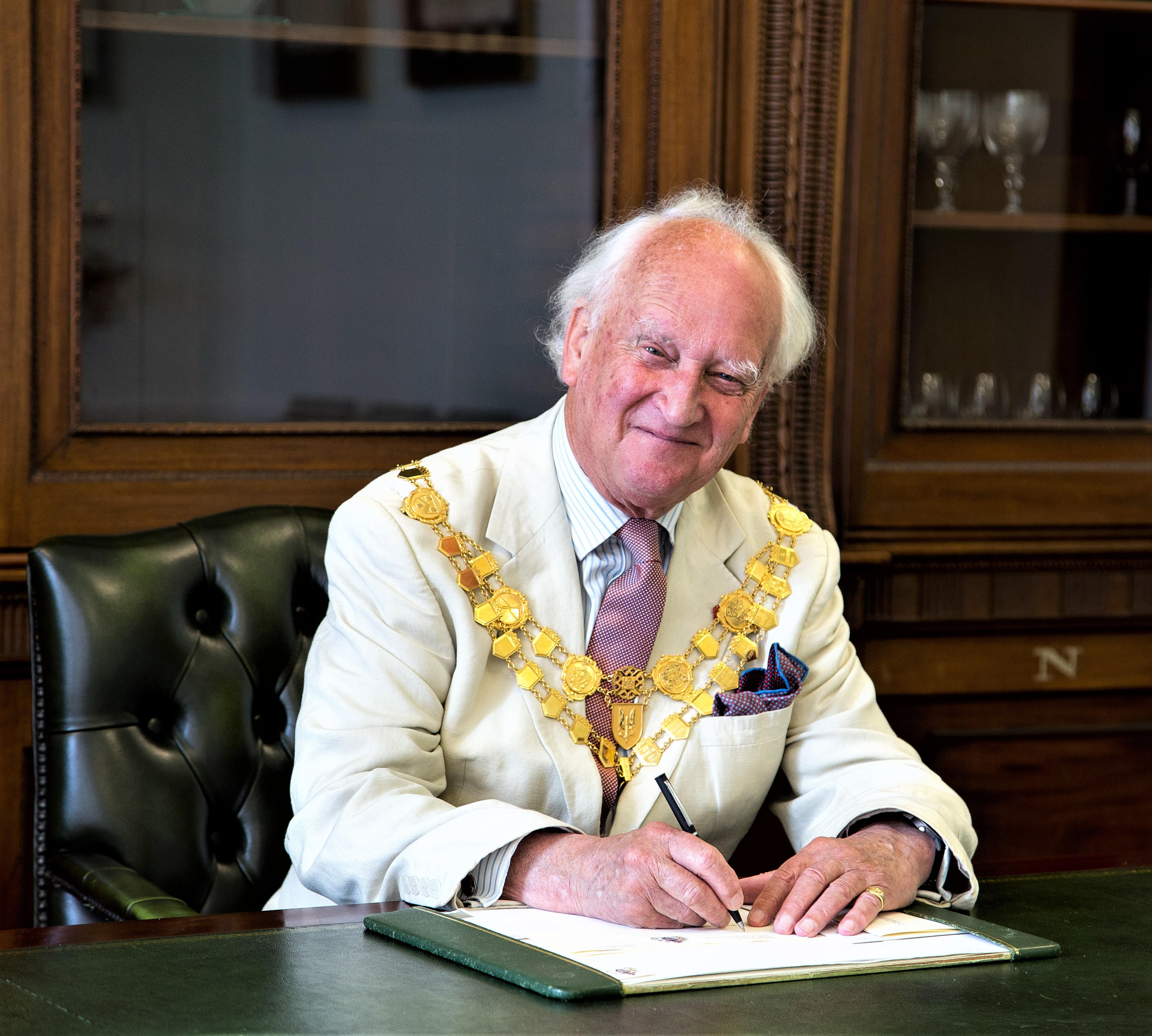 Chairman of the council, Sebastian Bown, sat as his desk in the chairmans office
