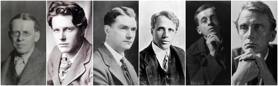 The Dymock Poets - Lascelles Abercrombie, Rupert Brooke, John Drinkwater, Robert Frost, Wilfrid Gibson and Edward Thomas