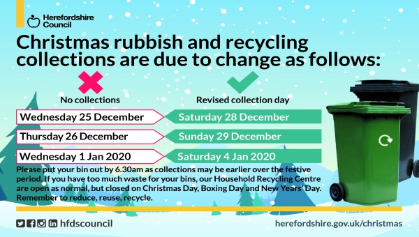 Table showing Christmas 2019 recycling collection times