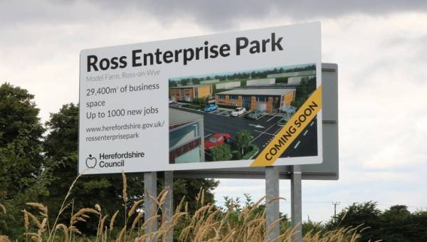 Photo showing Ross Enterprise Park sign