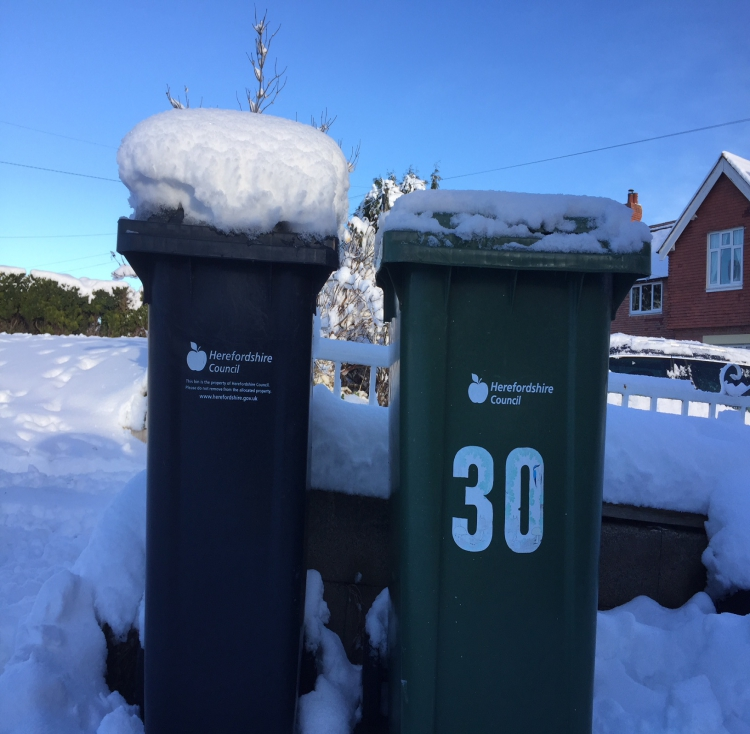 Herefordshire bins in the snow