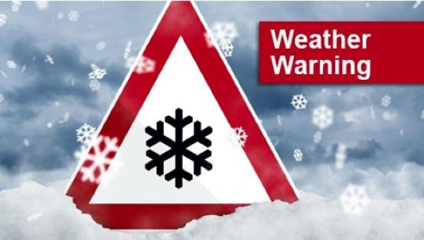weather warning snow sign