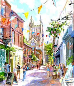 Painting of Church Street, Hereford by Susan Edwards as part of inspired by Heroes exhibition