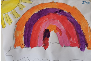 Rainbow painting sent to Herefordshire Council by Joe aged 8