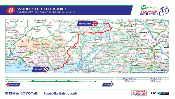 Tour of Britain Stage 8 map