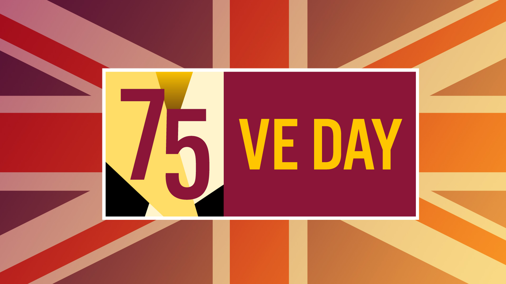 Union Jack with label saying 75 VE Day