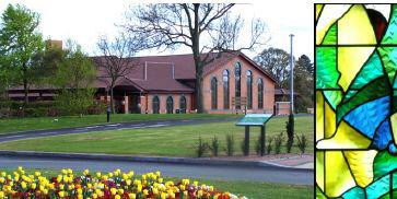 Hereford crematorium with stained glass detail