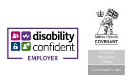 Disability Confident Employer and Armed Forces Silver Covenant Employer logos