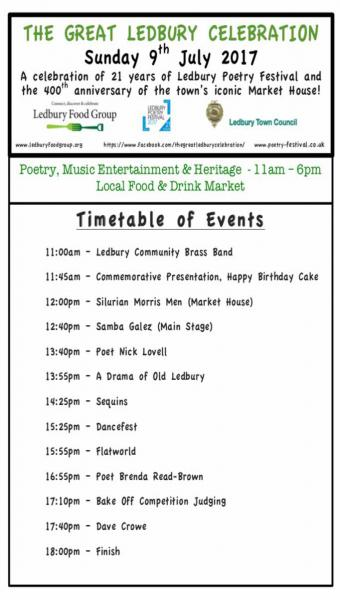 Great ledbury celebration timetable of events