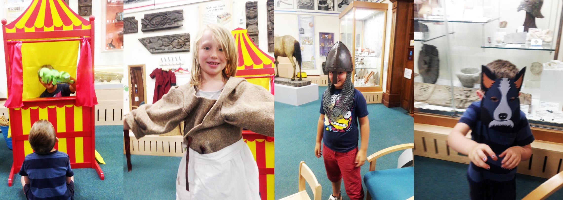 Children dressing up at the museum