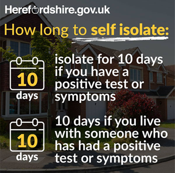 Graphic with text How long to self isolate 10 days if you have a positive test or symptoms; 10 days if you live with someone who has had a positive test or symptoms