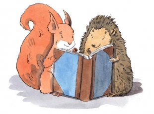 Squirrel and hedgehog reading a book together