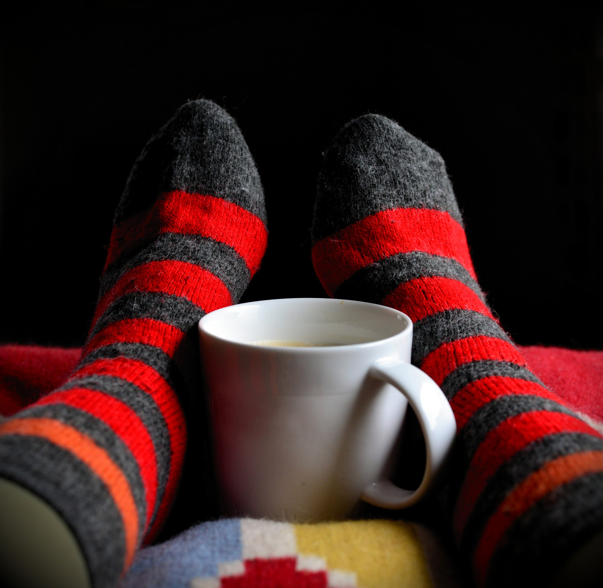 Photo of warm feet and cup