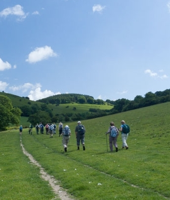 Walking group in Herefordshire countryside