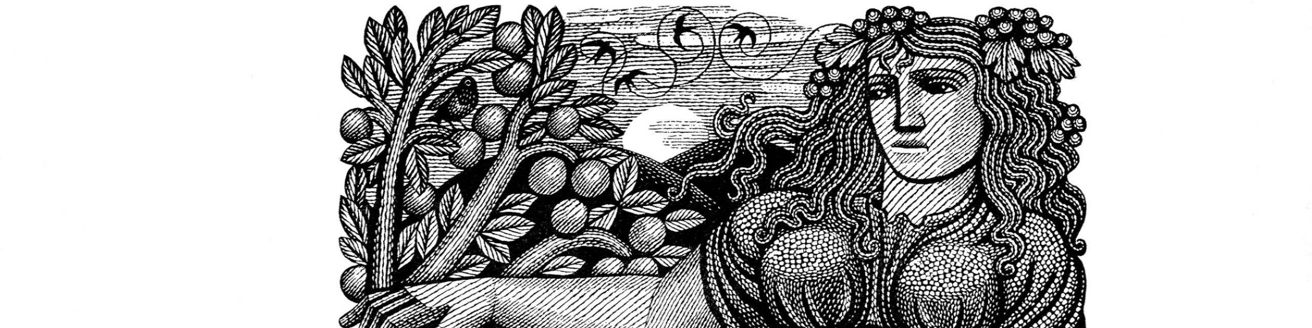 Wood engraving called To Autumn by Harry Brockway